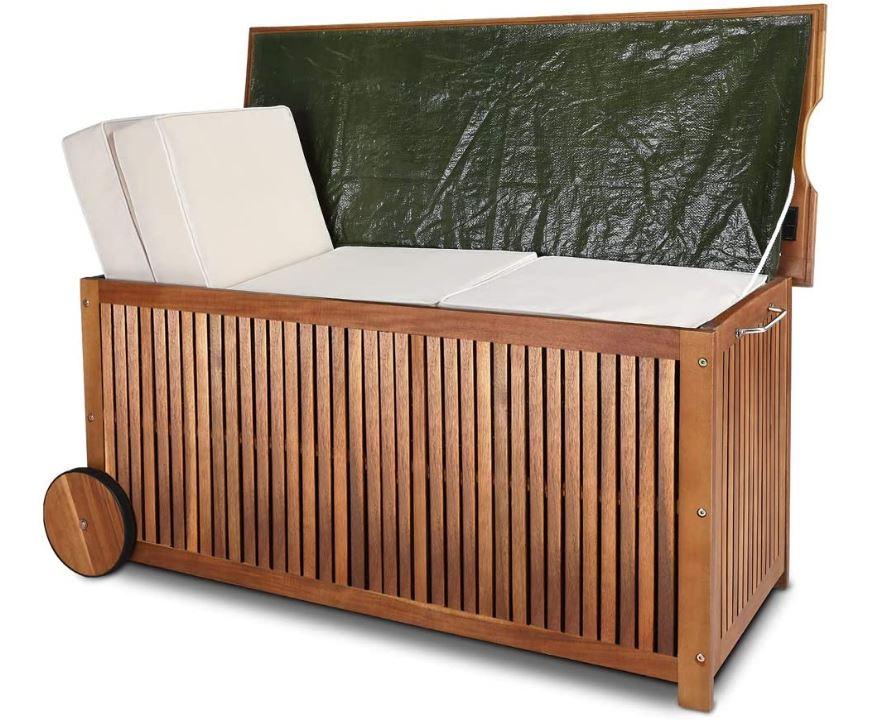 Gartenbox Holz Auflagenbox mit Rädern von Deuba