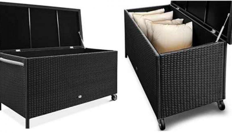 Kissenbox Kunststoff Polyrattan schwarz mit Rollen
